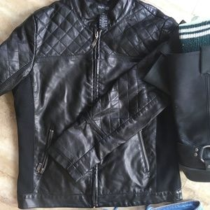 Jackets & Blazers - Quilted Leather Moto Jacket